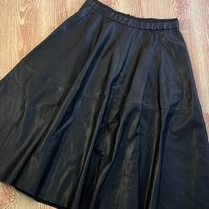 Zara black faux leather skater skirt